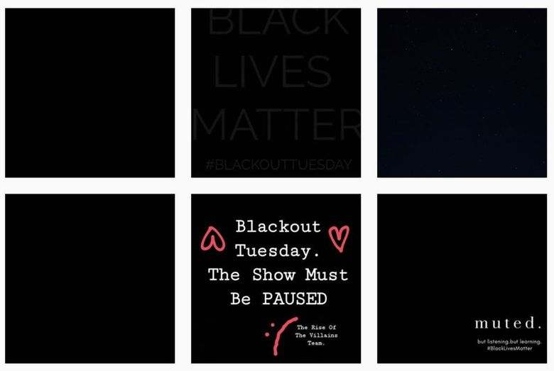 Instagram accounts as part of #TheShowMustBePaused and #BlackoutTuesday.  (Instagram)