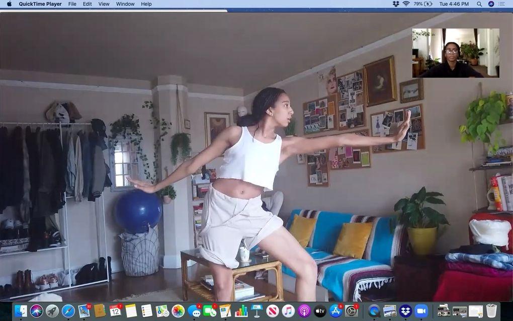 "Amanda Morgan, left, and Nia-Amina Minor rehearse ""Musings"" via Zoom. (Courtesy of Seattle Dance Collective)"
