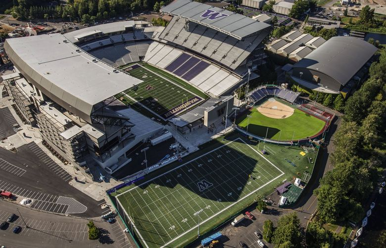 An aerial view of Husky Stadium and other UW athletic facilities. (Dean Rutz / The Seattle Times, file)