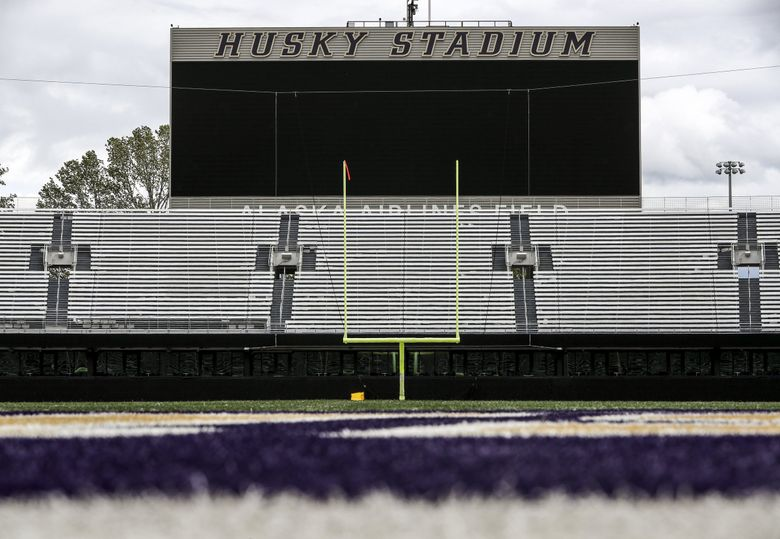 Husky Stadium sits empty as spring practices would be underway, but are canceled due to the coronavirus pandemic on Thursday, April 30, 2020. (Amanda Snyder / The Seattle Times)