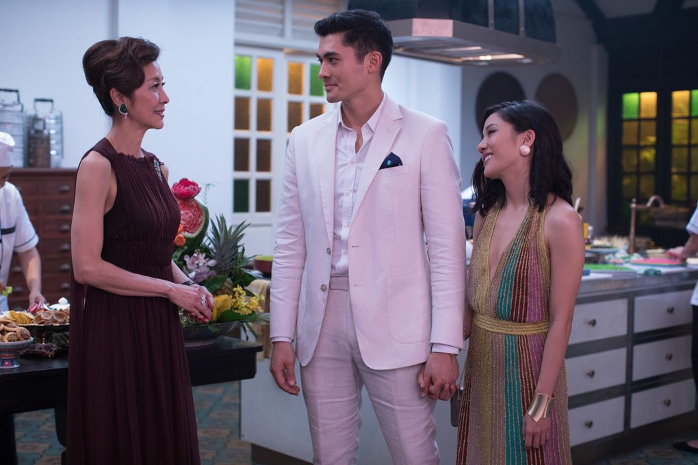 """Michelle Yeoh, Henry Golding and Constance Wu in the 2018 movie """"Crazy Rich Asians."""" (Sanja Bucko)"""