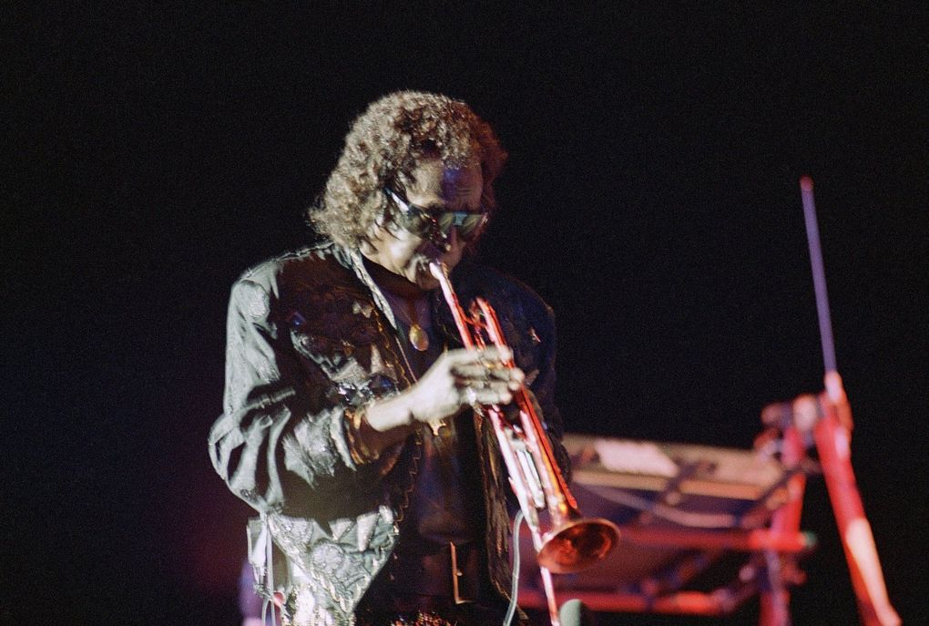 """Miles Davis plays at the Roman amphitheater in Caesarea as part of the 1987 Israel Festival. Want to know more about the jazz trumpeter/composer? Check out the documentary """"Miles Davis: Birth of the Cool."""" (The Associated Press, file)"""
