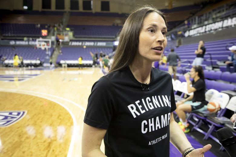 Sue Bird of the Seattle Storm talks to the media before the team takes on the New York Liberty at Alaska Airlines Arena at the University of Washington Wednesday July 3, 2019. (Bettina Hansen / The Seattle Times)