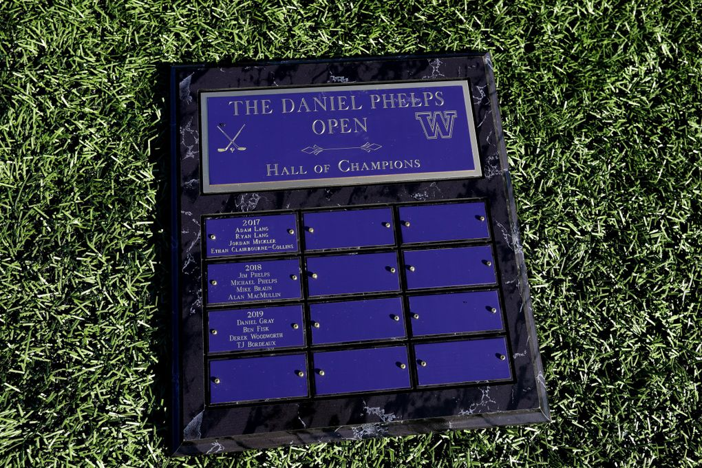 The awards plaque for the DP Open is seen on the pitch at Shoreline Stadium soccer field, Monday, July 13, 2020.  (Ken Lambert / The Seattle Times)