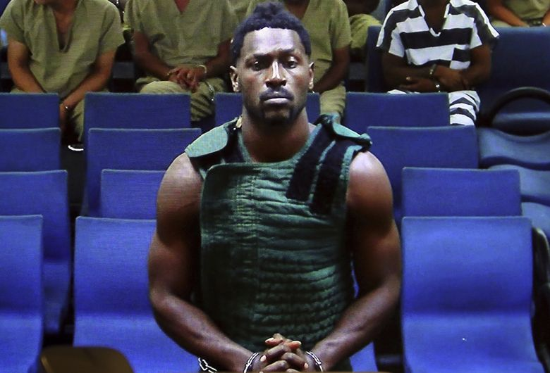 NFL free agent Antonio Brown appears at the Broward County Courthouse in Fort Lauderdale, Fla., via video link  Friday, Jan. 24, 2020. Brown was granted bail on Friday after spending the night in a Florida jail. The wide receiver will have to pay a bond of $110,000, surrender his passport, wear a monitor, get mental health evaluation and pass random drug tests. He also can't have guns. Brown is accused of attacking the driver of a moving truck that carried some of his possessions from California. (Amy Beth Bennett/South Florida Sun Sentinel via AP, Pool) (Amy Beth Bennett / AP)