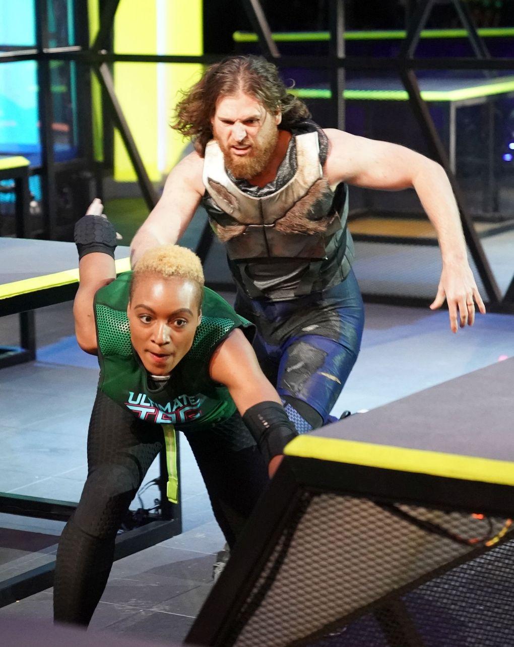 "Tagger ""Horse"" (Zac Gordon, right) chases a contestant in Fox's ""Ultimate Tag."" (FOX)"