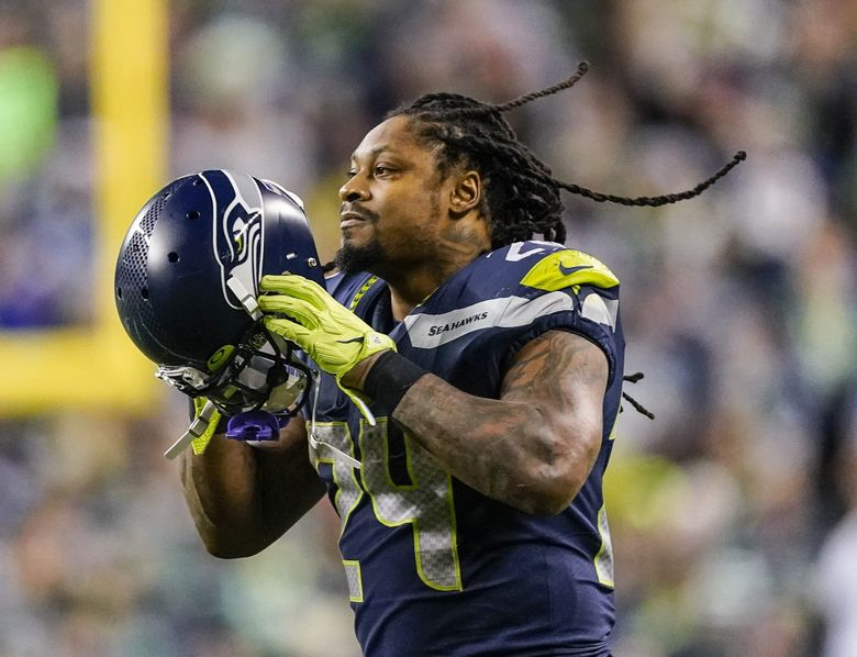 Marshawn Lynch wasn't known for talking with the media when he played for the Seahawks.  (Dean Rutz / The Seattle Times)