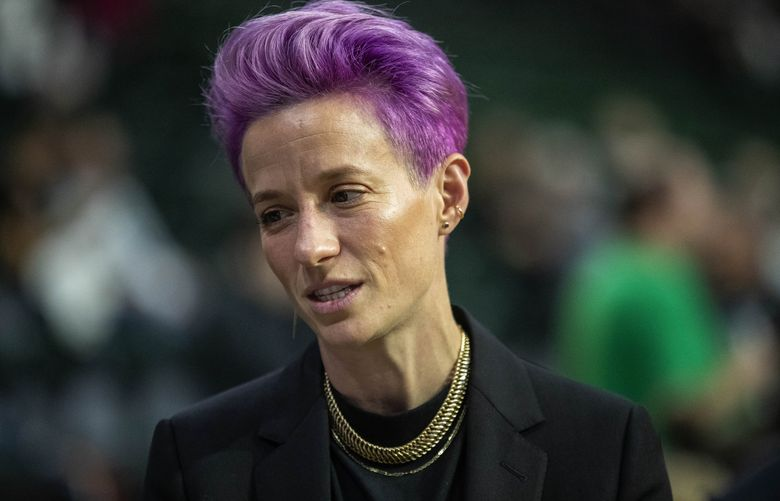 Megan Rapinoe on the sideline of a Storm playoff game in 2019.   (Dean Rutz / The Seattle Times)