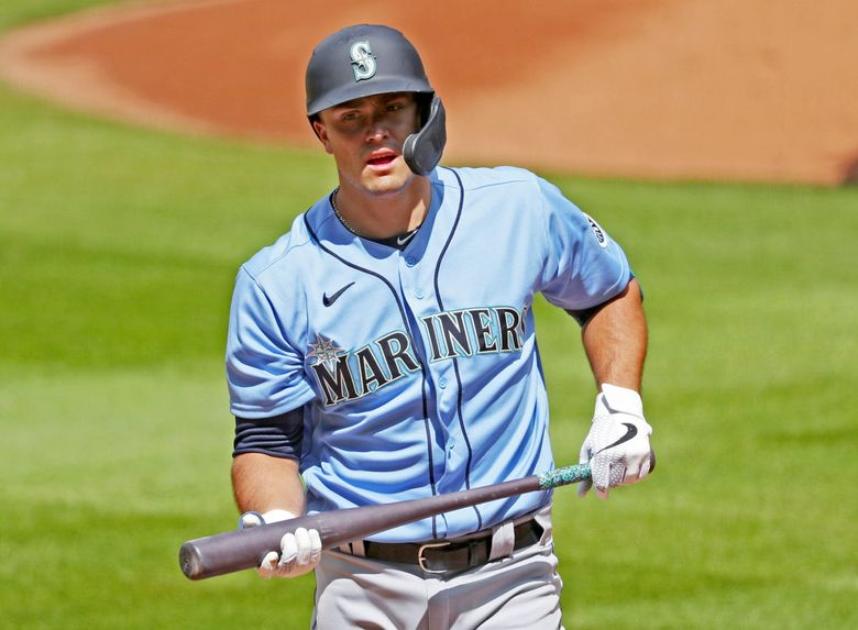 Evan White participates in a Mariners intrasquad game July 12 at T-Mobile Park in Seattle. White is the best defensive first baseman to wear a Mariners uniform since John Olerud. But his first at-bat on Friday will be his first at the MLB level. (Ken Lambert / The Seattle Times)