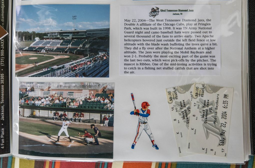 A page from the Siscels'  minor league scrapbook features the West Tennessee Diamond Jaxx  of Jackson, Tennessee. (Steve Ringman / The Seattle Times)