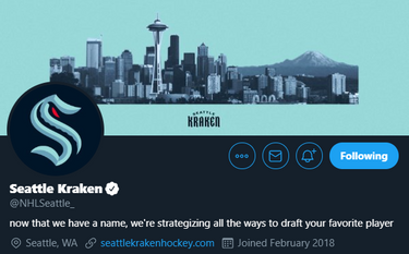 """The Seattle Kraken's Twitter bio reads """"Now that we have a name, we're strategizing all the ways to draft your favorite player."""" (Twitter.com screenshot)"""