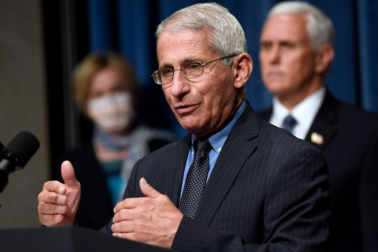 """FILE – In this June 26, 2020, file photo Director of the National Institute of Allergy and Infectious Diseases Dr. Anthony Fauci, center, speaks as Vice President Mike Pence, right, and Dr. Deborah Birx, White House coronavirus response coordinator, left, listen during a news conference with members of the Coronavirus task force at the Department of Health and Human Services in Washington. Fauci has warned that the United States could soon see 100,000 infections per day. """"We haven't even begun to see the end of it yet,"""" Fauci said during a talk hosted by Stanford University's School of Medicine. (AP Photo/Susan Walsh, File)"""
