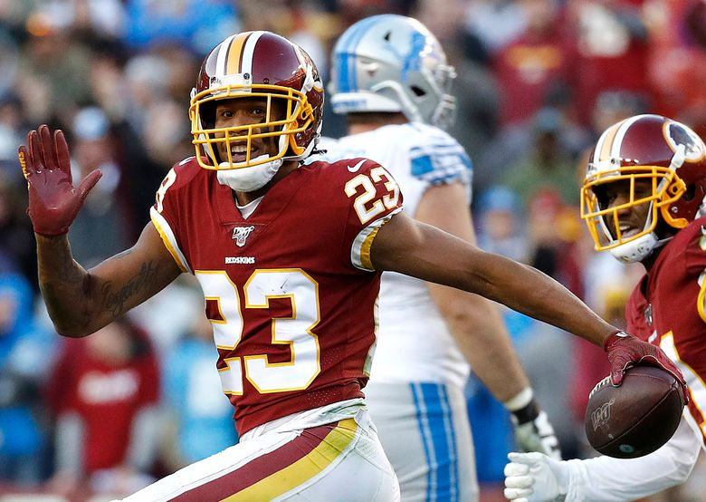Former Washington cornerback Quinton Dunbar who now plays for the Seahawks during a game in 2019.(Patrick Semansky / Associated Press)