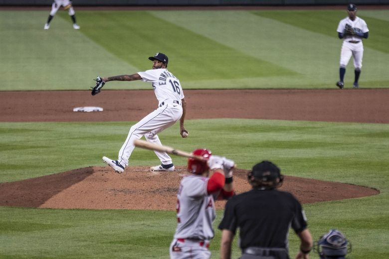 Carl Edwards Jr. pitches against the Angels on Aug. 4 at T-Mobile Park. (Dean Rutz / The Seattle Times)