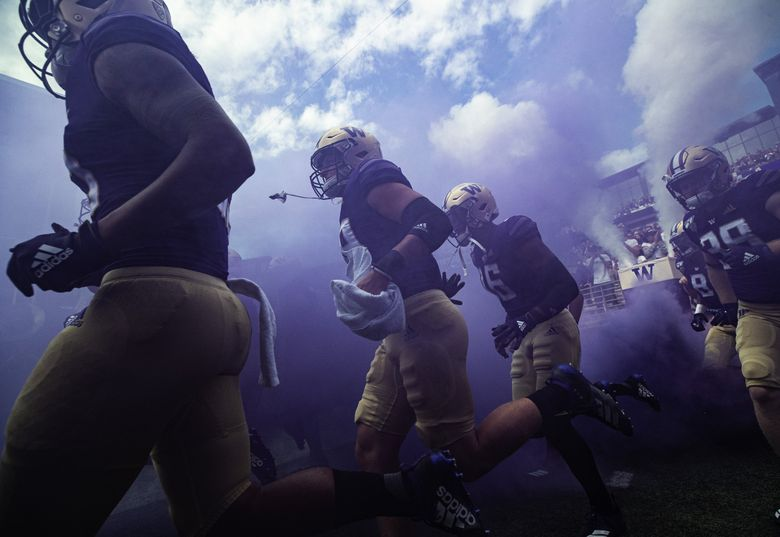 Washington takes the field Saturday against Eastern Washington University.  The Eastern Washington University Eagles played the 13th-ranked Washington Huskies in the first game of the 2019 season Saturday, August 31, 219 at Husky Stadium in Seattle, WA. (Dean Rutz / The Seattle Times)