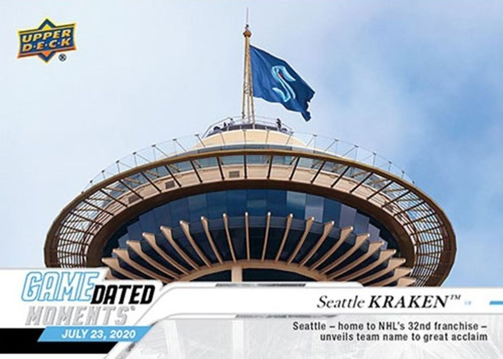 The Seattle Kraken flag flies atop the Space Needle on Upper Deck's Seattle Kraken hockey card, the franchise's first card. (Courtesy of Upper Deck)