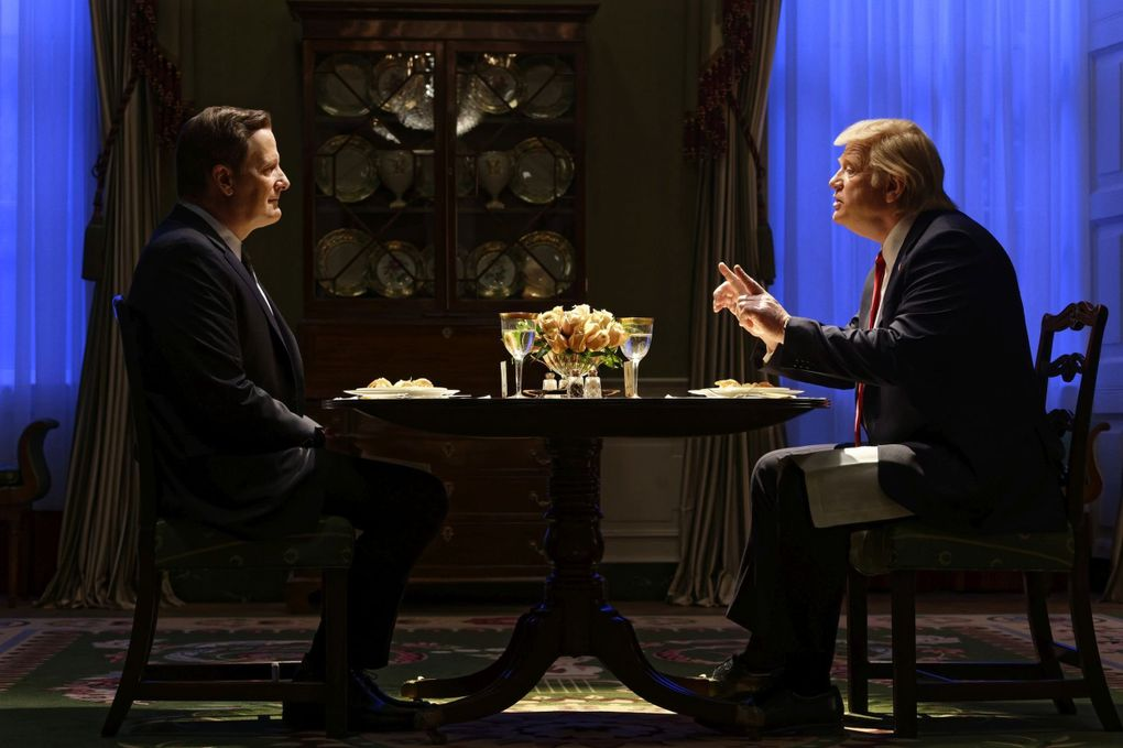 """Jeff Daniels, left, as James Comey and Brendan Gleeson as President Donald Trump in """"The Comey Rule."""" (Ben Mark Holzberg / CBS)"""