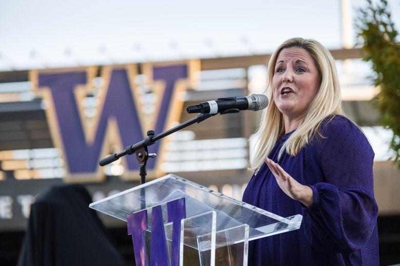 Washington Athletic Director Jen Cohen speaks outside Husky Stadium on Friday, October 27, 2017.  (Dean Rutz / The Seattle Times)
