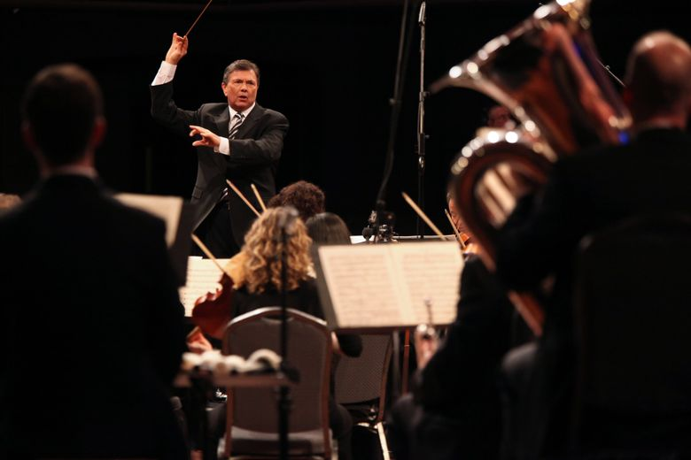 Gerard Schwarz conducts the All-Star Orchestra. (Steve J. Sherman / All-Star Orchestra)