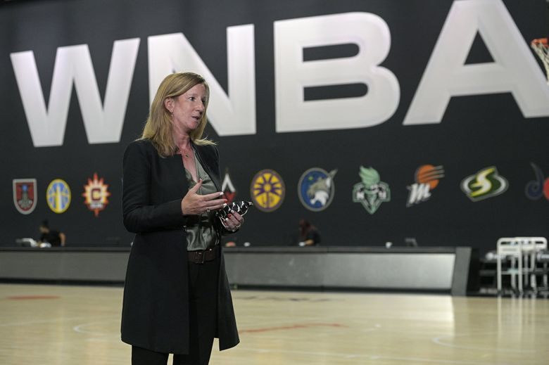 WNBA Commissioner Cathy Engelbert answers questions about a postponed game between the Seattle Storm and the Minnesota Lynx after Game 1 of a WNBA basketball semifinal round playoff game between the Connecticut Sun and the Las Vegas Aces, Sunday, Sept. 20, 2020, in Bradenton, Fla. (Phelan M. Ebenhack / The Associated Press)