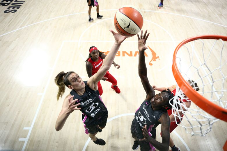 Breanna Stewart #30 of the Seattle Storm and Natasha Howard #6 of the Seattle Storm fight for the rebound against the Washington Mystics on September 2, 2020 at Feld Entertainment Center in Palmetto, Florida. (Photo by Ned Dishman/NBAE via Getty Images)
