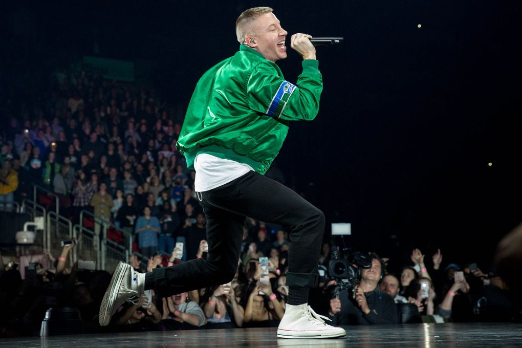 Hometown rap hero Macklemore and other Seattle stars are taking part in a virtual festival benefiting struggling independent music venues across the country. (Courtney Pedroza / The Seattle Times)