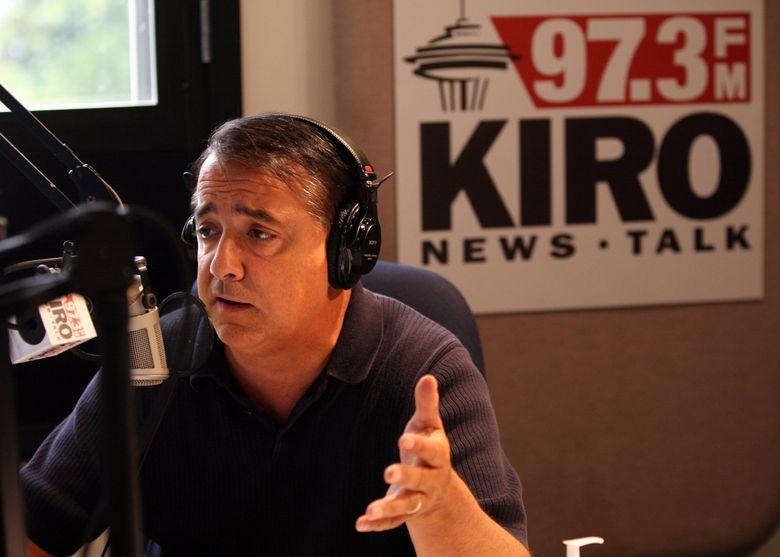 KIRO Radio talk-show host Dori Monson on air in 2009. (Greg Gilbert / The Seattle Times)