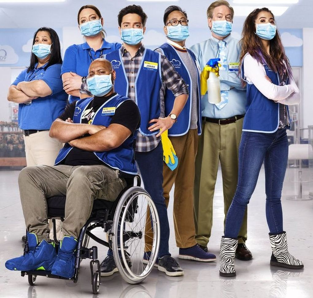 """NBC comedy """"Superstore"""" mines the quarantine experience for humor, with plots about curbside pickup and store promotions to woo customers back to in-person shopping. (Courtesy of NBC)"""