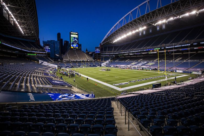 The stadium is empty due to the coronavirus pandemic as the Seattle Seahawks take on the New England Patriots at CenturyLink Field in Seattle Sunday September 20, 2020. (Bettina Hansen / The Seattle Times)