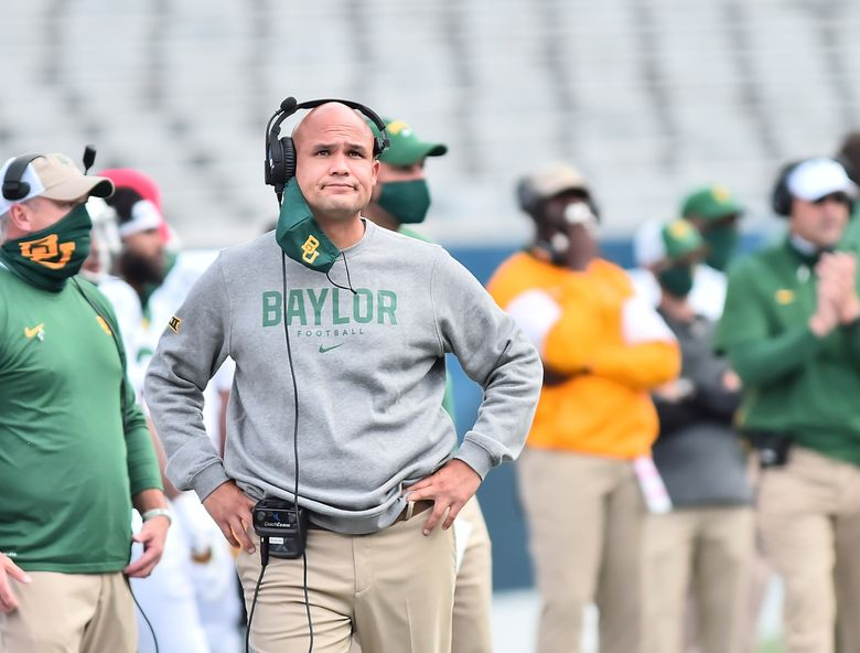 Baylor head coach Dave Aranda looks during an NCAA college football game against West Virginia , Saturday, Oct. 3, 2020, in Morgantown, W.Va. (William Wotring/The Dominion-Post via AP)