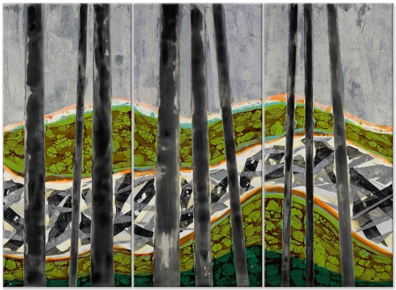 """""""Slash & Burn — Log Jam"""" by Seattle artist Joy Hagen, who is participating in Artists Sunday. Hagen says her pieces are inspired by trees, which are her sanctuary, and her love of nature. This year, Artists Sunday is on Nov. 29. (Courtesy of Joy Hagen)"""