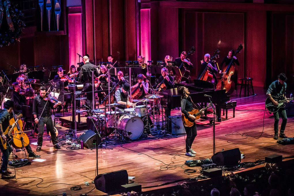"""Brandi Carlile has performed with Seattle Symphony several times, including in this 2014 concert. Her """"Live at Benaroya Hall"""" album, from a 2010 double-header with the orchestra, is filled with early-career favorites. (Jason Tang)"""
