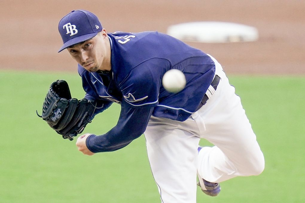 Tampa Bay Rays Blake Snell pitches during a game against New York Yankees on Oct. 5, 2020, in San Diego. (Jae C. Hong / AP)
