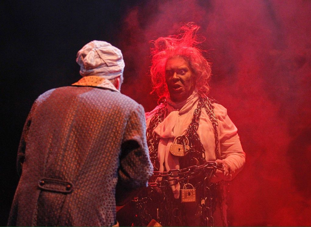 """Kurt Beattie as Scrooge and the late G. Valmont Thomas as Marley in ACT's 2015 production of """"A Christmas Carol."""" (Chris Bennion)"""