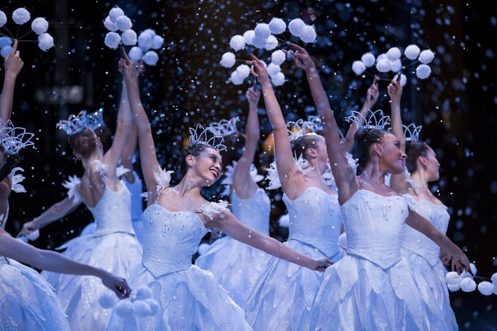 """Pacific Northwest Ballet company dancers in a scene from the 2017 production of """"George Balanchine's The Nutcracker."""" (Angela Sterling)"""
