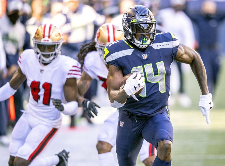 DK Metcalf scores from 46-yards out in the 1st quaarter.  The San Francisco 49ers played the Seattle Seahawks in NFL action Sun day, November 1, 2020 at CenturyLink Field in Seattle, WA. 215542 (Dean Rutz / The Seattle Times)