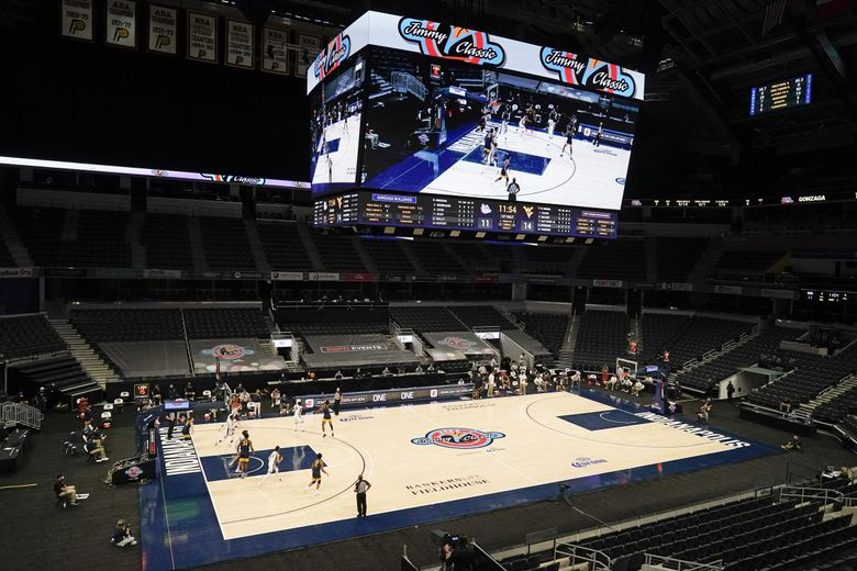 West Virginia and Gonzaga play during the first half of an NCAA college basketball game, Wednesday, Dec. 2, 2020, in Indianapolis. Gonzaga was scheduled to play Baylor but the game was cancelled due to COVID.  (Darron Cummings / The Associated Press)