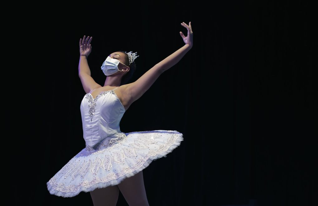 """Performance Division dancer Lydia Wondwosen in the role of Snow Queen in Evergreen City Ballet's """"Nutcracker Suites.""""  (Michelle Smith-Lewis )"""