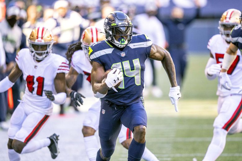 DK Metcalf scores from 46-yards out against the 49ers in November. Metcalf needs just six yards to break Steve Largent's 1985 record for most yards in a single-season in franchise history with 1,288. (Dean Rutz / The Seattle Times)