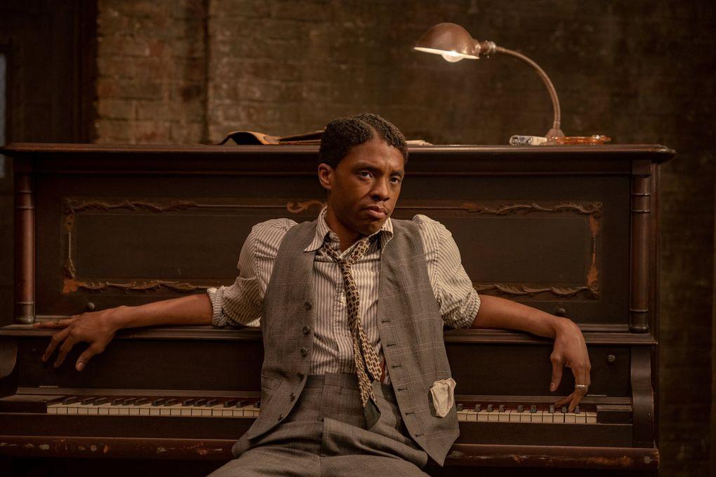 "Chadwick Boseman as Levee in August Wilson's ""Ma Rainey's Black Bottom.""  (David Lee / Netflix)"