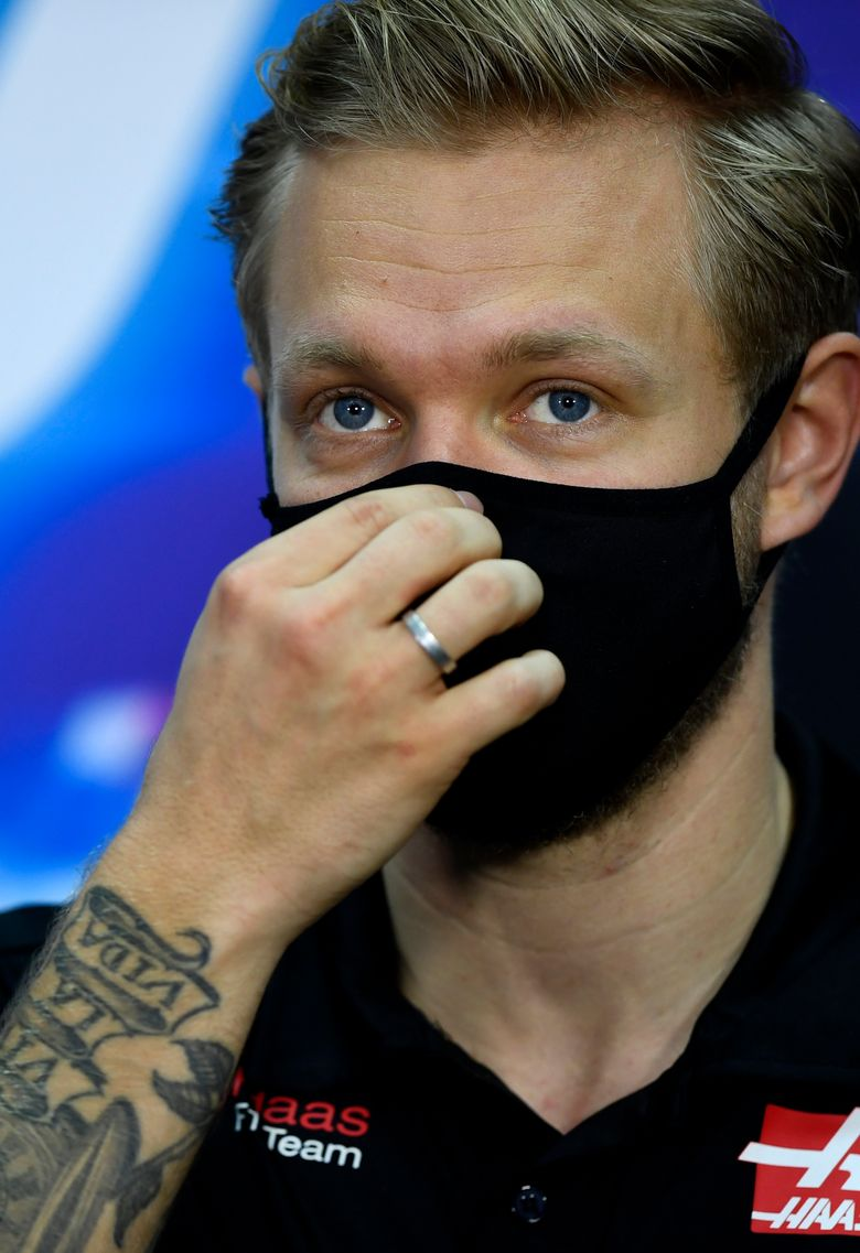 Haas driver Kevin Magnussen of Denmark participates in a media conference prior to the Bahrain Formula One Grand Prix at the Bahrain International Circuit in Sakhir, Bahrain, Thursday, Nov. 26, 2020. The Bahrain Formula One Grand Prix will take place on Sunday. (Rudy Carezzevoli, Pool via AP)
