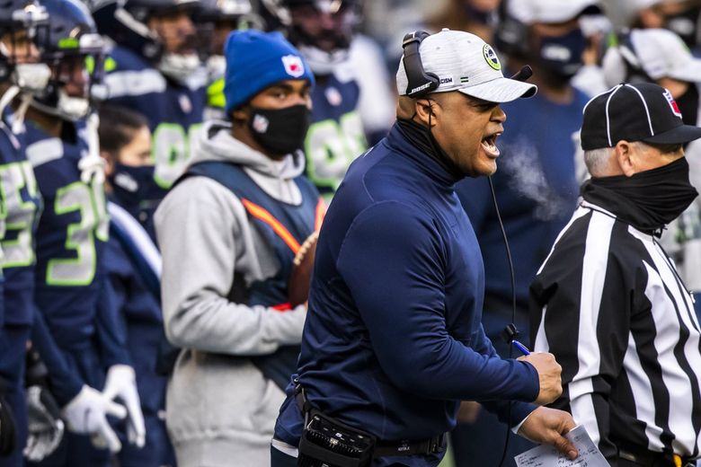 Defensive coordinator Ken Norton Jr. tries to inspire his defense in the first quarter as the Seattle Seahawks take on the Los Angeles Rams at Lumen Field in Seattle, Sunday December 27, 2020. (Bettina Hansen / The Seattle Times)