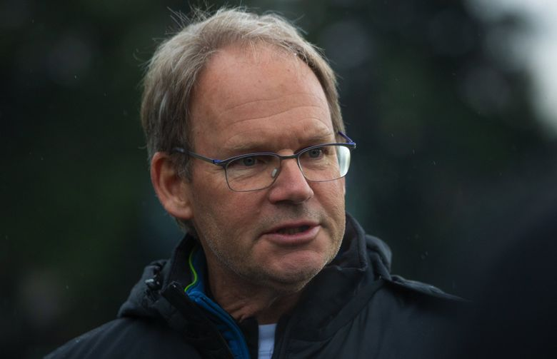 Sounders Head Coach Brian Schmetzer talks to the media before practice at Starfire stadium field in Tukwila Tuesday, January 14, 2020. (Ellen M. Banner / The Seattle Times)