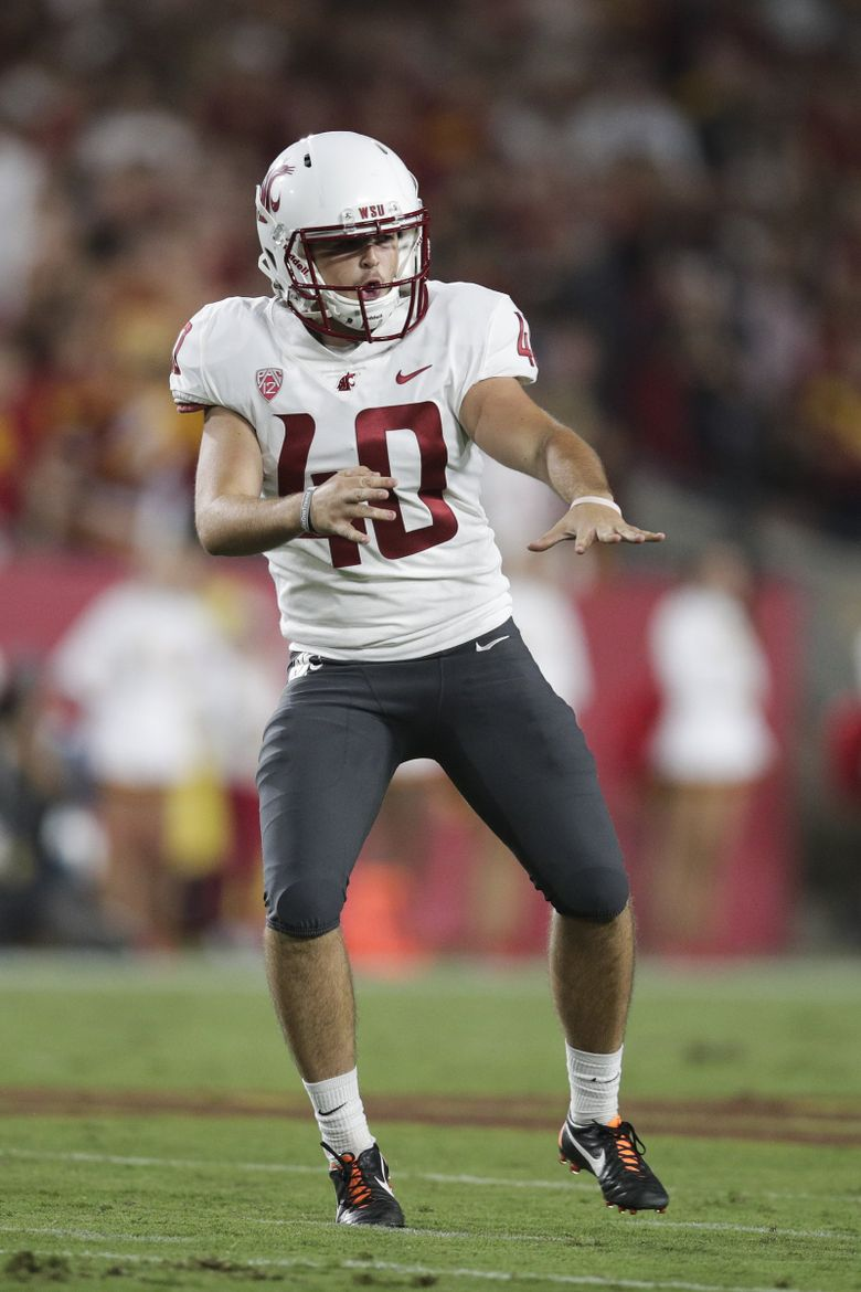 Washington State's Blake Mazza celebrates after making a field goal during the first half of a game against USC, Friday, Sept. 21, 2018, in Los Angeles. (AP Photo/Jae C. Hong) CAJH110 CAJH110 (Jae C. Hong / The Associated Press)