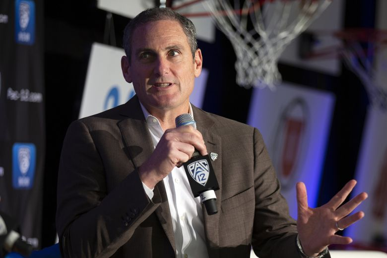 Pac-12 Commissioner Larry Scott speaks to reporters during the Pac-12 Conference women's basketball media day in October 2019 in San Francisco. (D. Ross Cameron / AP)