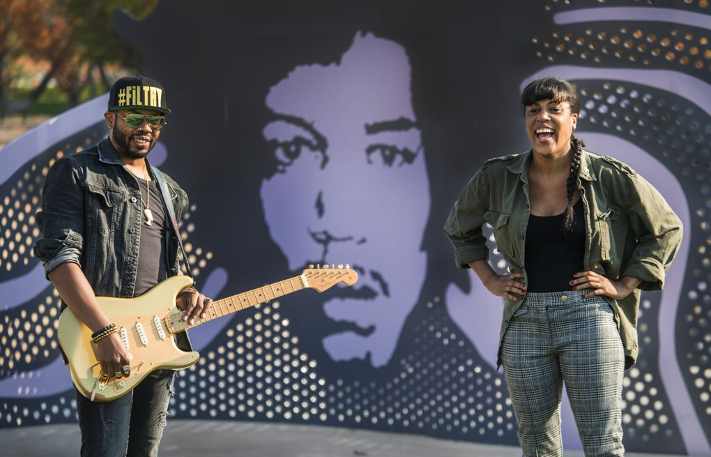 Seattle rockers Ayron Jones, left, and Eva Walker of The Black Tones, shown here at Jimi Hendrix Park in Seattle last year, both have support from Seattle musical heavy hitters. (Steve Ringman / The Seattle Times)