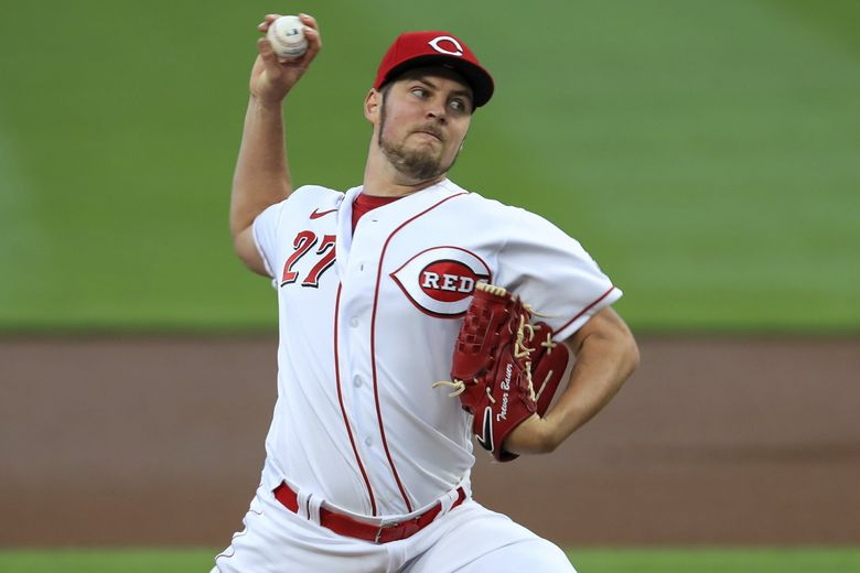 Trevor Bauer is a free agent after winning the Cy Young award with the Cincinnati Reds last season.  (AP Photo/Aaron Doster)