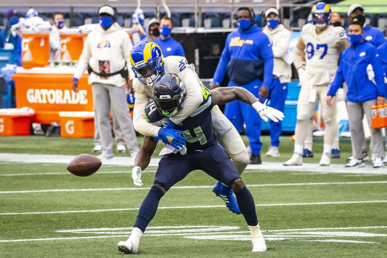 Seahawks receiver DK Metcalf was held to eight receptions for 87 yards in two games against the Rams this season. (Bettina Hansen / The Seattle Times)