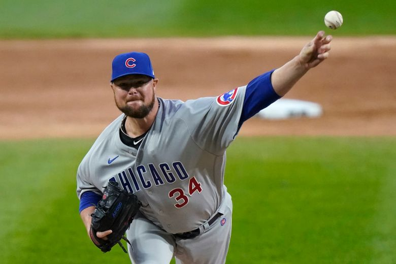 FILE – In this Sept. 26, 2020, file photo, Chicago Cubs starting pitcher Jon Lester throws to a Chicago White Sox batter during the first inning of a baseball game in Chicago. A person with knowledge of the deal has confirmed to The Associated Press that left-hander Lester and the Washington Nationals have an agreement in principle in place for a one-year contract. The deal is pending the successful completion of a physical exam. (AP Photo/Nam Y. Huh, File)