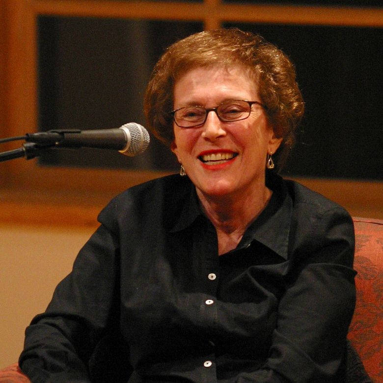 """In this 2003 photo provided by Patricia Williams is Joan Micklin Silver as she is being interviewed by Kenneth Turan at the National Yiddish Book Center in Amherst, Mass. Silver, who forged a path for female directors in both independent and Hollywood films with movies including """"Hester Street"""" and """"Crossing Delancey,"""" has died at age 85. Silver died from vascular dementia on Thursday, Dec. 31, 2020, at her home in New York, her daughter Claudia Silver told The Associated Press. (Patricia Williams via AP)"""